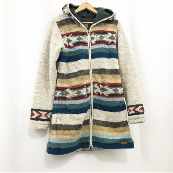 Laundromat Wool Sweater Coat Fleece Lined